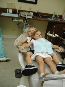 Grace at 3 years.  She asked Isaac to hold her while her teeth were cleaned.  It was really cute.