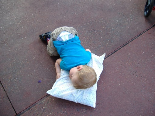 Owen got so tired one day that he pulled out his pillow and went to sleep on Main Street.