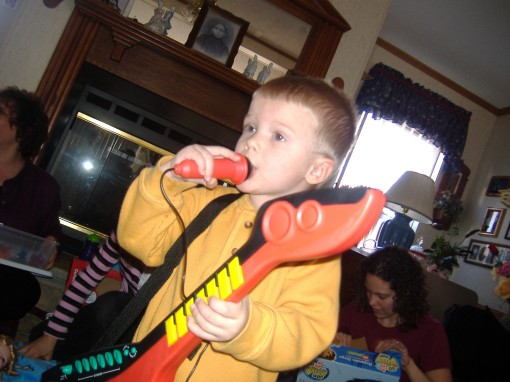 Isaac 2.5 years....he has always loved music.