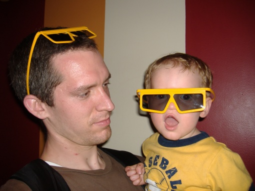 Owen ready for the 3D ride Toy Story Mania!
