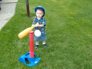 Owen playing baseball
