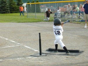Isaac batting at his first game of the season.